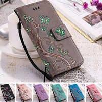 YiKELO imprimer papillon mouche fleur en cuir Flip livre portefeuille cellule coque de téléphone couverture souple pour Apple iphone 5 5s SE 6 6s 7 Plus 7plus