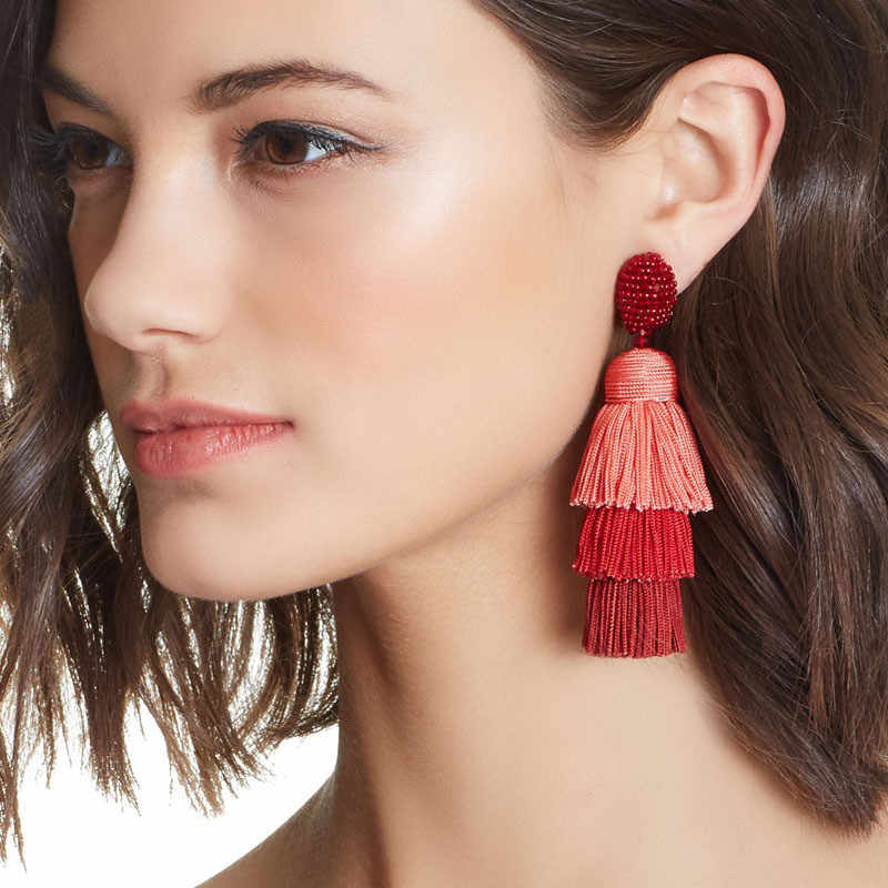 Full Beads Top Women Tassel Earrings Multi-layered Fringed Boho Ethnic Girls Thread Statement Drop Earrings ET521