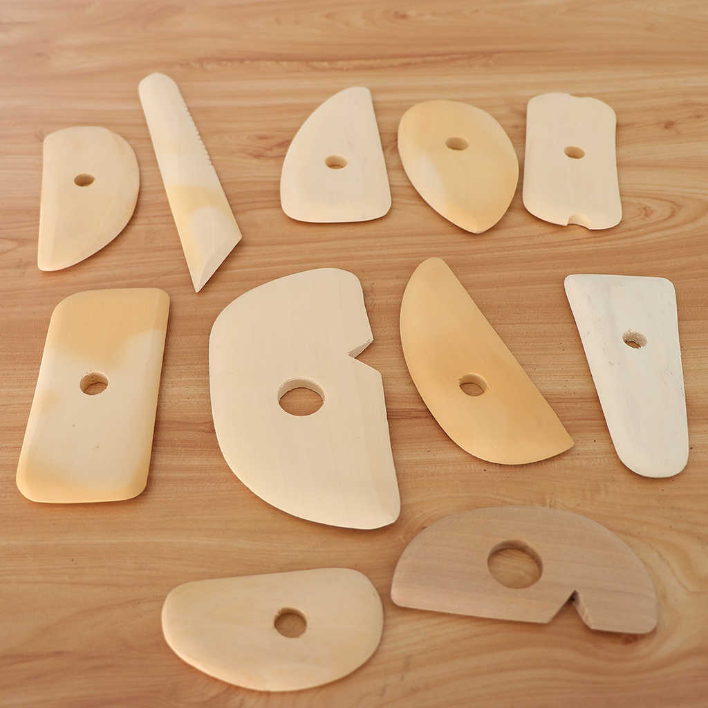 11pcs Different Shapes Natural Wooden Clay Pottery Ceramic Soap Engraving/Scraping Tools Scraper