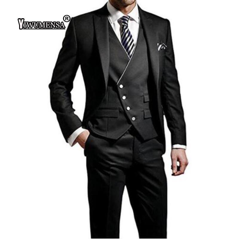 Yiwumensa Costume Homme 2018 Men Suits For Wedding Black 3 Pieces Slim Fit Mens Suits With Pants Custom Made Black Suit Men 2017