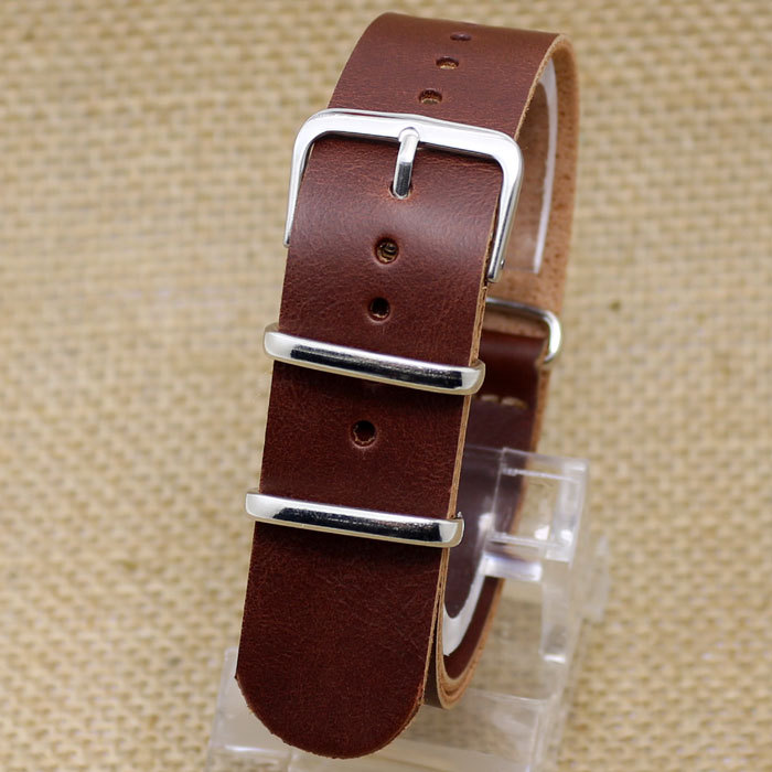 20MM Brown New Arrival High Quality Soft Sweatband  Leather Strap Steel Buckle Wrist Watch Band