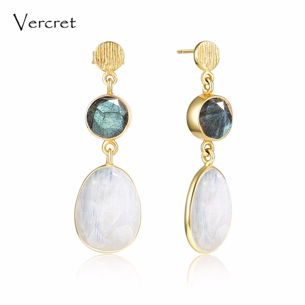 Vercret 925 sterling silver natural stone earrings for women 18k gold jewelry labradorite rainbow moonstone earrings