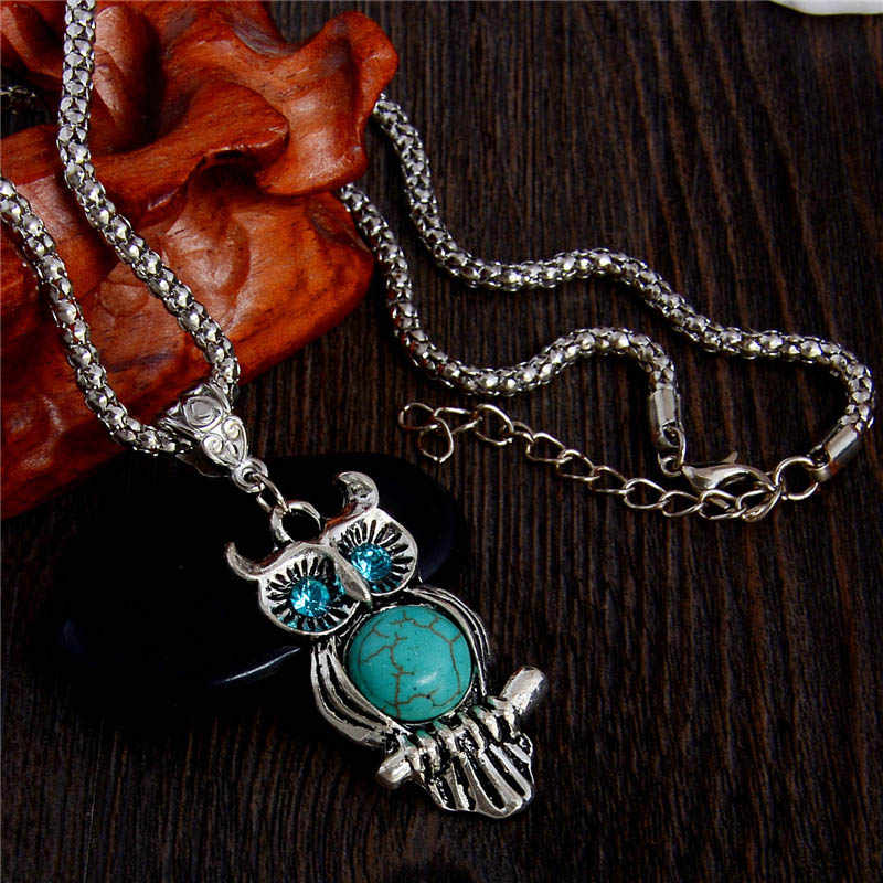 SHUANGR High quality natural stone blue eyes owl necklace pendant fine Silver-color necklace vintage jewelry for wowen collier