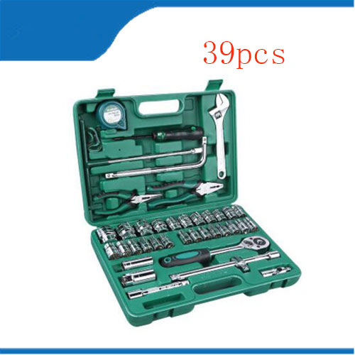 Toolbox 39 Pcs Hand Tool Set General Household Hand Tool Kit with Plastic tool box Storage Case Socket Wrench Screwdriver Knife 55pcs hand tool set kit household tool kit saw screwdriver hammer tape measure wrench plier
