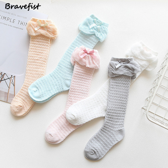 77a43c37d8c Cute Children s Knee High Socks For Toddlers Kids Baby Girls Solid Bow-knot Cotton  Princess Dress Ballet Long Sock Leg Warmer
