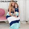 Verano de Bohemia Superior Del Tanque de Rayas Patchwork Coincidencia de Madre E Hija Vestidos de Boho Beach Maxi vestido de madre e hija Familia Mirada