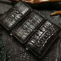 100% натуральная аллигатора хвост сзади кожи длинный Мужчины кошелек черный цвет Крокодил мужчин кошелек на молнии черный коричневый