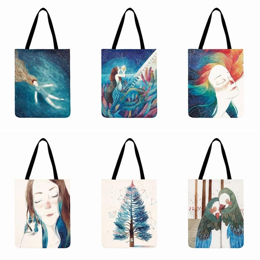 Mermaid Lady Printed Tote Bag For Women Linen Fabric Bag Casual Totes Outdoor Beach Bag Reusable Shopping Bag Daily Hand Bag