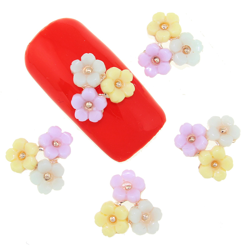3D Alloy Nail Art 10 Pcs/Lot 3 Flowers For Colorful Manicure Accessories Glitter Strass Decorations For Charms Nails TN1722 2014 new arrive rose flowers nail decorations 7mm 24pcs set 3d alloy charm design manicure nail art accessories