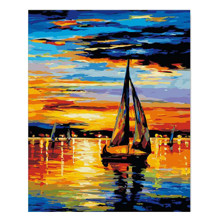 Decorative Canvas Painting By Numbers Landscape,Diy Oil Sunset Boat Sailing