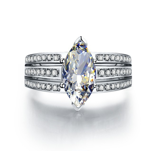 Vintage 3 Carat Marquise Sona Simulate Diamond Engagement