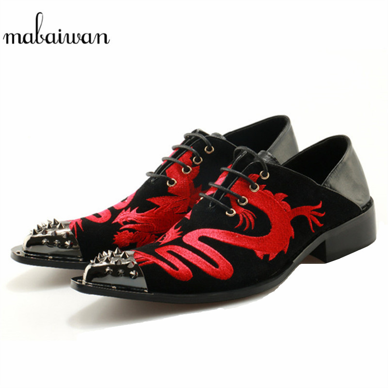 Mabaiwan Fashion Handmade Men Shoes Red Embroidery Dragon Slipper Black Leather Loafers Dress Shoes Men Lace Up Flats Plus Size