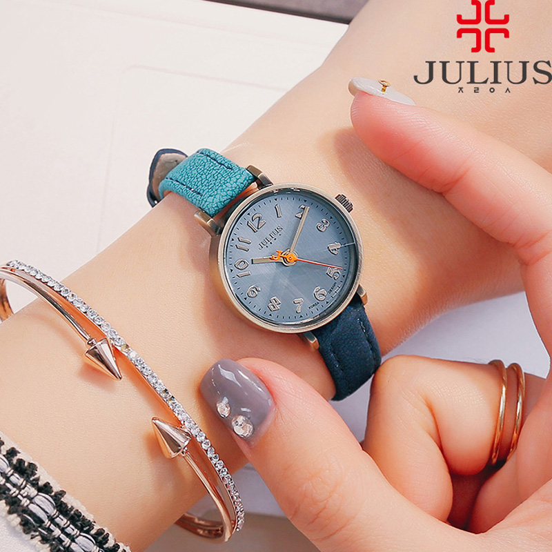 Julius Women's Watch Japan Quartz Hours Top Fashion Dress Bracelet Leather Retro Gradient Color Simple Girl Birthday Gift 855 new simple cutting glass women s watch japan quartz hours fashion dress stainless steel bracelet birthday girl gift julius box