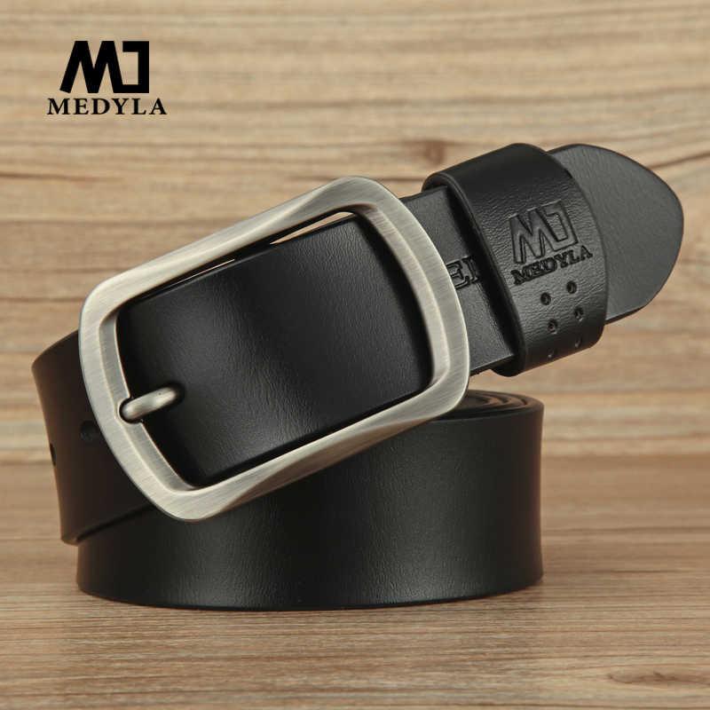 Medyla Sabuk untuk Pria Sapi Kulit Asli Tali Desain Sabuk Pria Ceinture Homme Tinggi Asli Leather Belt Pria & Cummerbunds