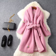 Europe and the United States women's new winter 2016 nail bead sequins bee cloth coat teamed with cultivate one's morality