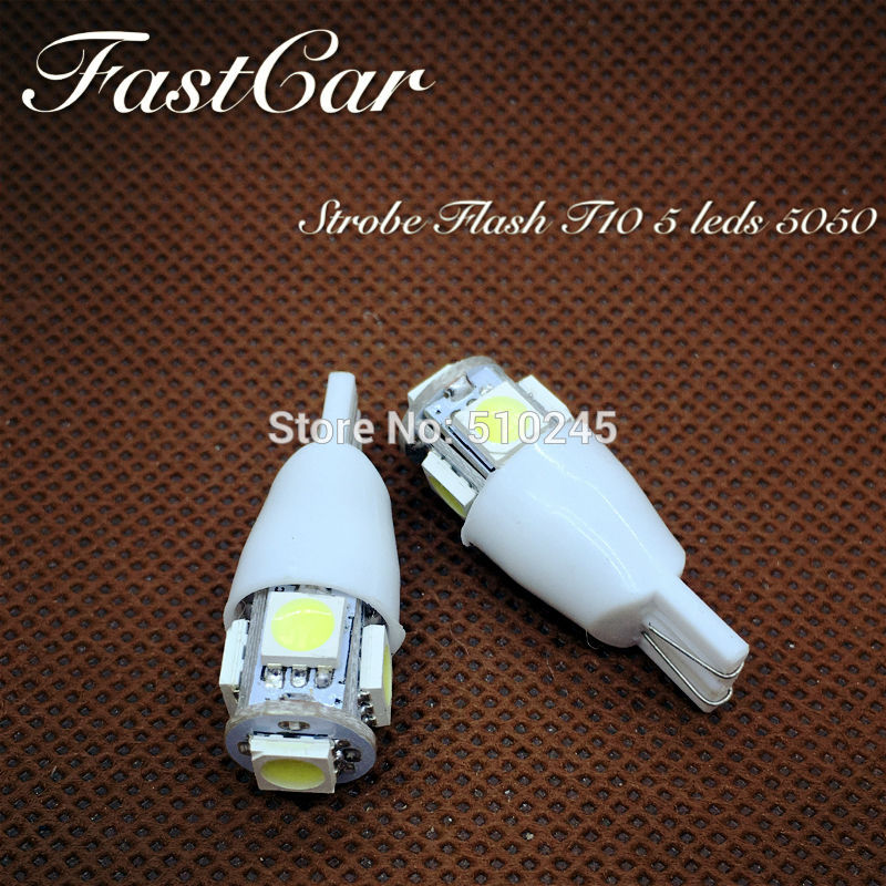 100x High quality car led Strobe flash flashing lamp 194 W5W 5SMD T10 wedge 5050 5
