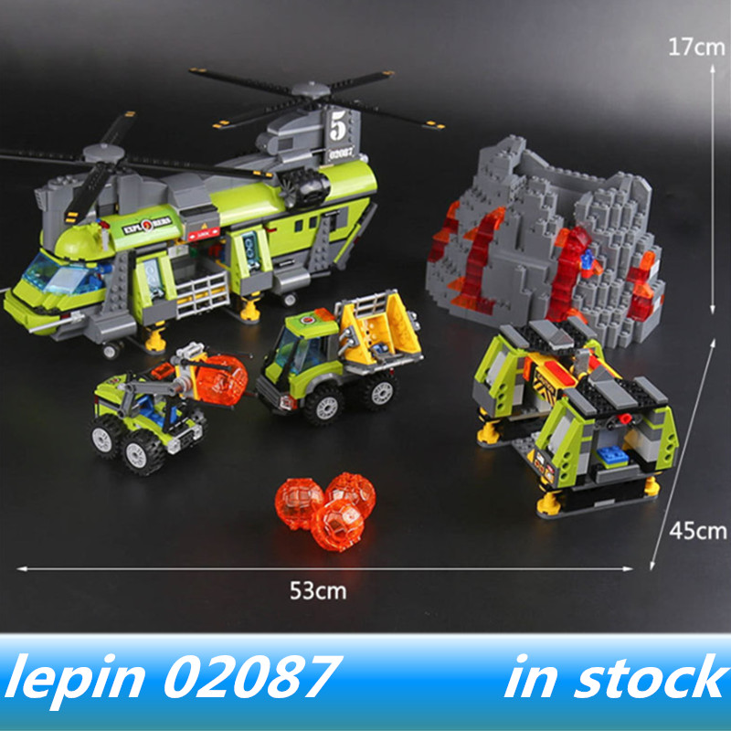 Lepin 02087 lepin City Series lepin Volcano Heavy-Lift Helicopter Set Legoing Volcano Heavy-Lift Helicopter 60125 Building Block hot city volcano heavy lift helicopter building block transporter truck forklift expedition figures bricks 60125 toys for gifts