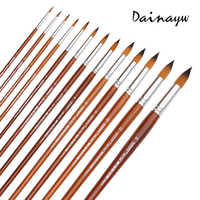 13Pcs Round Pointed Tip Nylon Hair Paint Brush Long Handle Gouache Watercolor Brush Oil Painting Acrylics