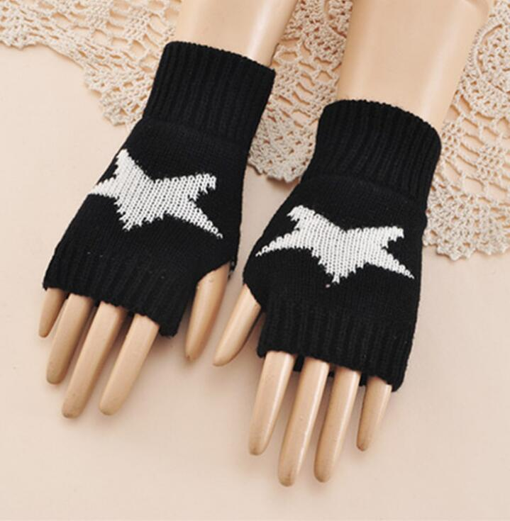 Men And Women's Autumn And Winter Yarn Knitted Star Gloves Lady's Thicken Warm Short Fingerless Gloves R107