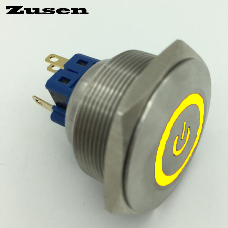 Zusen 30mm stainless steel with power and ring illuminated latching push button switch(GQ30F-11ZET/Y/12V/S) gq25 11ez 25mm latching led light ring lamp type stainless steel push botton switch with flat round