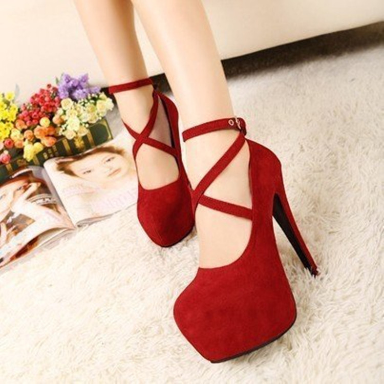 Woman Pumps High-Heeled-Shoes Party-Shoes Platform Suede Wedding Fashion New Hot 11cm