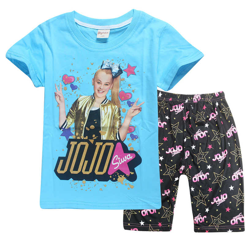 205bc5e3ac2 ... 2018 Summer jojo siwa Pajamas for Girls short and shirts sets Pyjamas  Set Baby Girl Unicorn ...