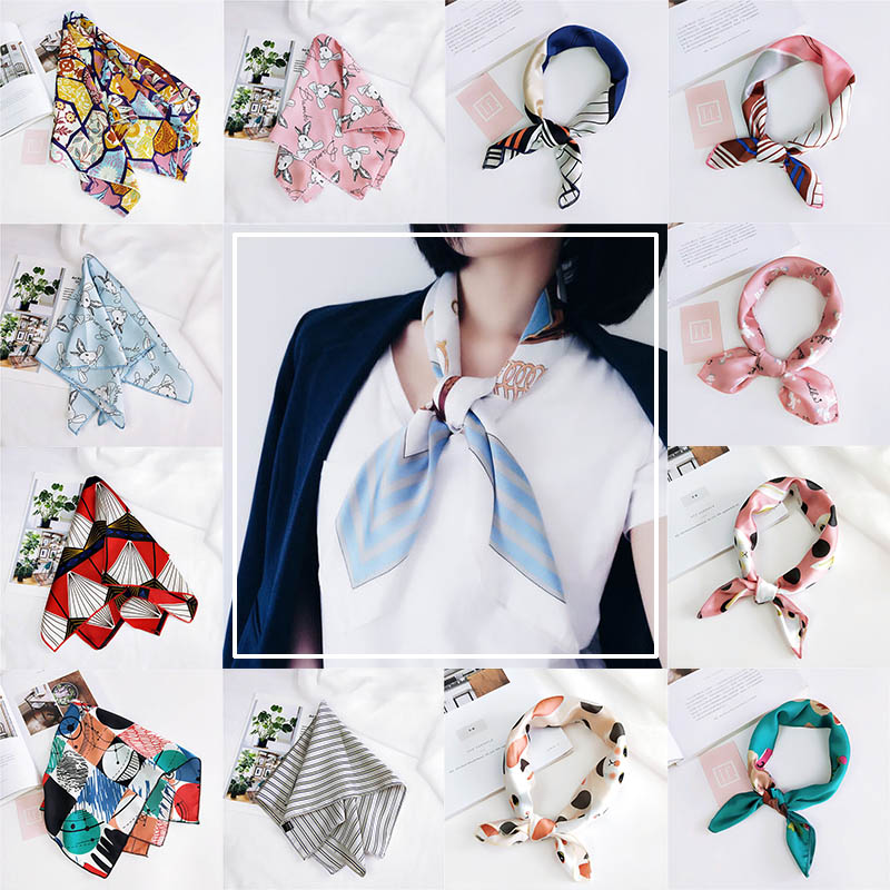 Mode 19 Stile Frauen Mädchen Elegante Platz Druck Koreanischen Stil Hotel Kellner Flight Attendants Business Imitieren Seide Schal Geschenk Damenschals