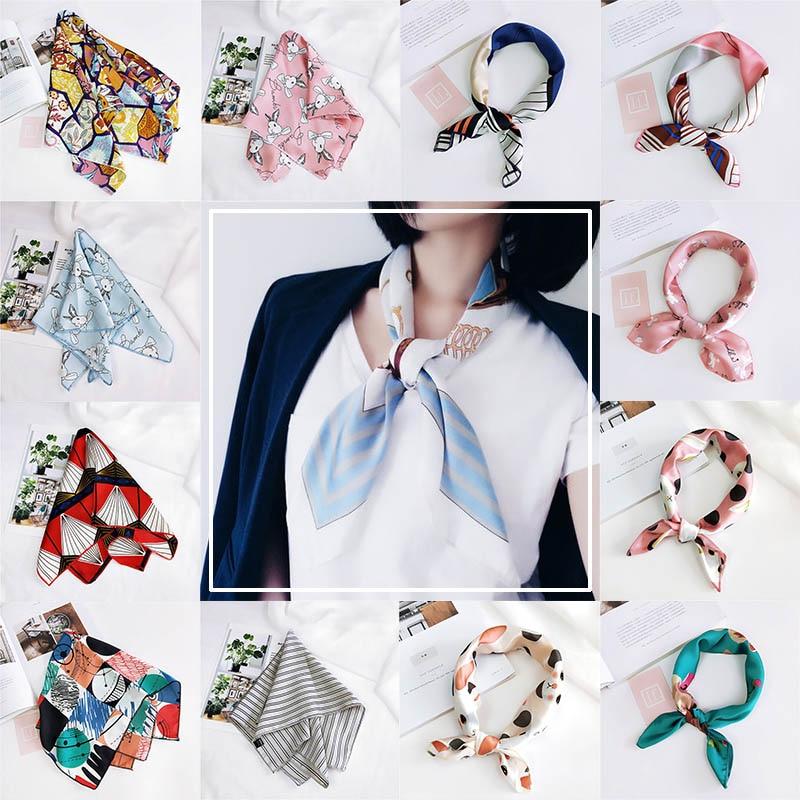 Korea 50*50 cute animal square retro silk satin cartoon printing lady new best selling headdress fashion scarf bag decorati
