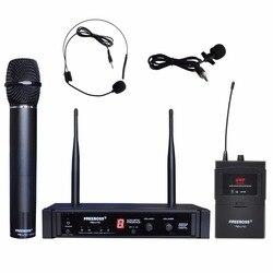 FB-U10H Dual Way Transmitter Digital UHF Wireless Microphone with handheld + Lapel + Headset microphone for Karaoke mic