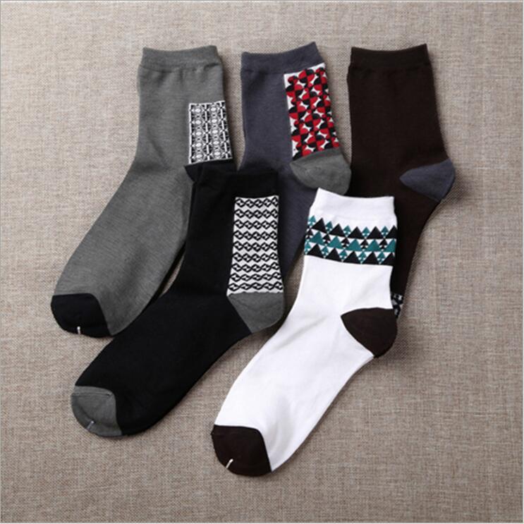 New 2017 Dense pattern Socks Cotton Men Fashion In Tube Socks Winter Male Casual Business Breathable Socks Boy 10pcs=5pairs/lot