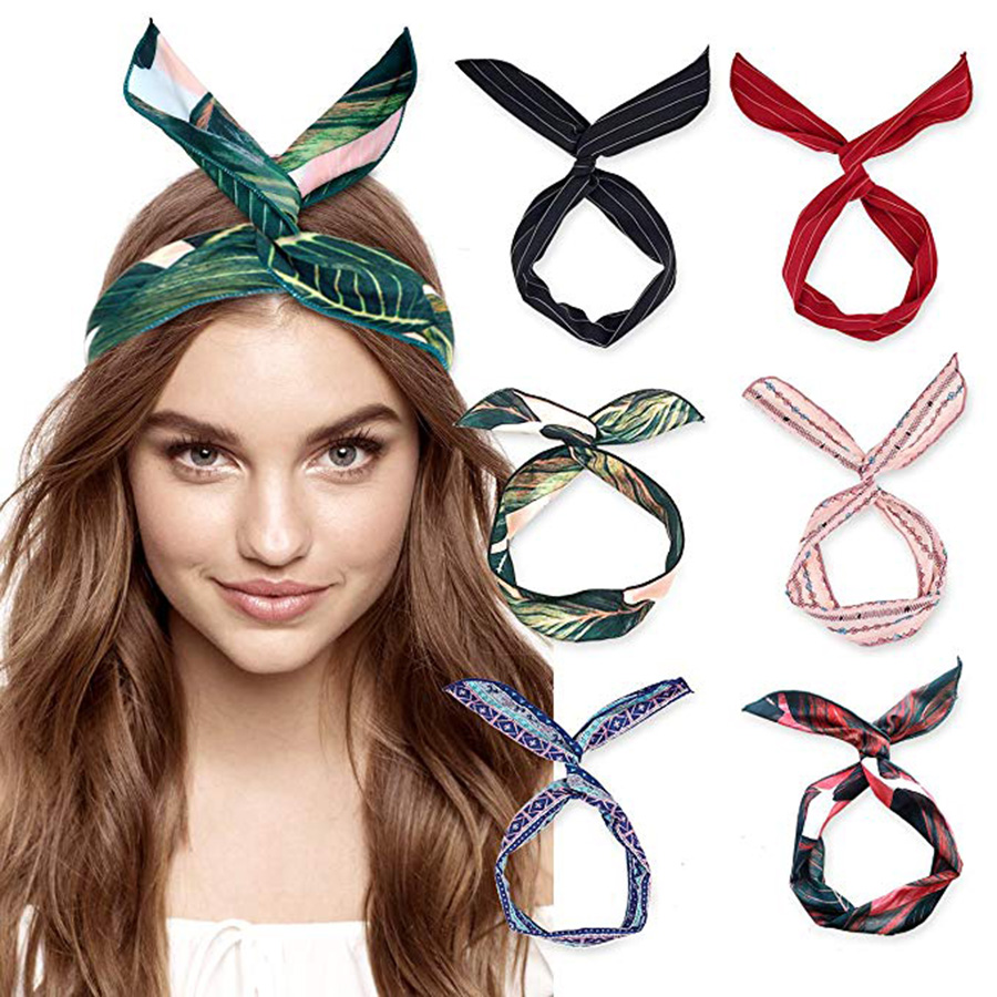 Haimeikang Cute Girl Cross Knot DIY Hair Bands Printing Chiffon Flower Women Turban Headbands Rabbit Ear Hairband   Headwear