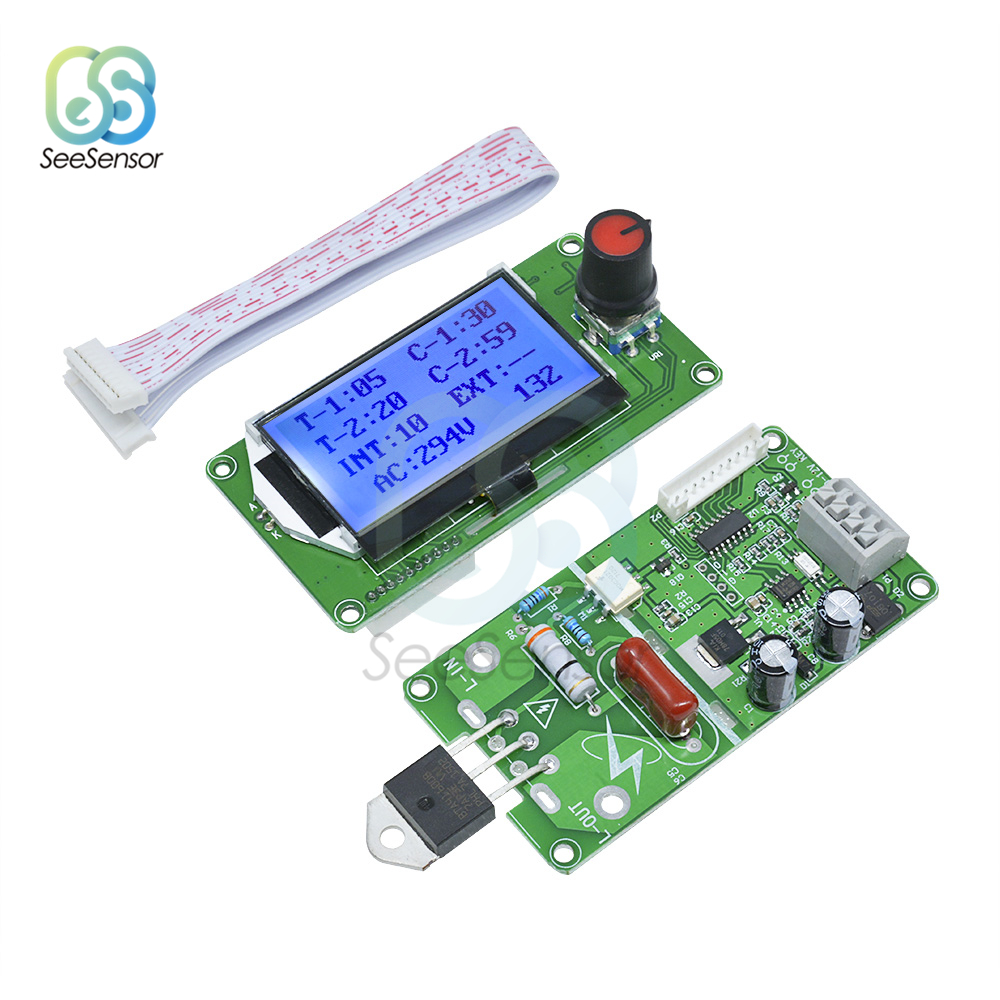40A 100A LCD Digital Dual Pulse Encoder Spot Welder Welding Machine Control Module Board For DIY Or Simple Battery Welder