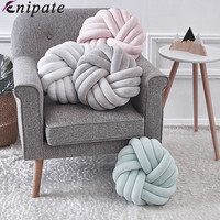 Enipate Plush Lovely Knot Braided Cushion Ball Hand Knotted Creative Chunky Pillow Home Decor Brief Decor Pillow 35x35cm
