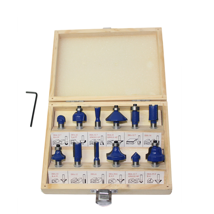 12pcs Router Bit Set Professional Shank Dia. 8mm Tungsten Carbide Router Bit Cutter Set With Wooden Case For Woodworking Tools free shipping pro grade 50pcs tungsten carbide 1 2inch router bits set with wooden case