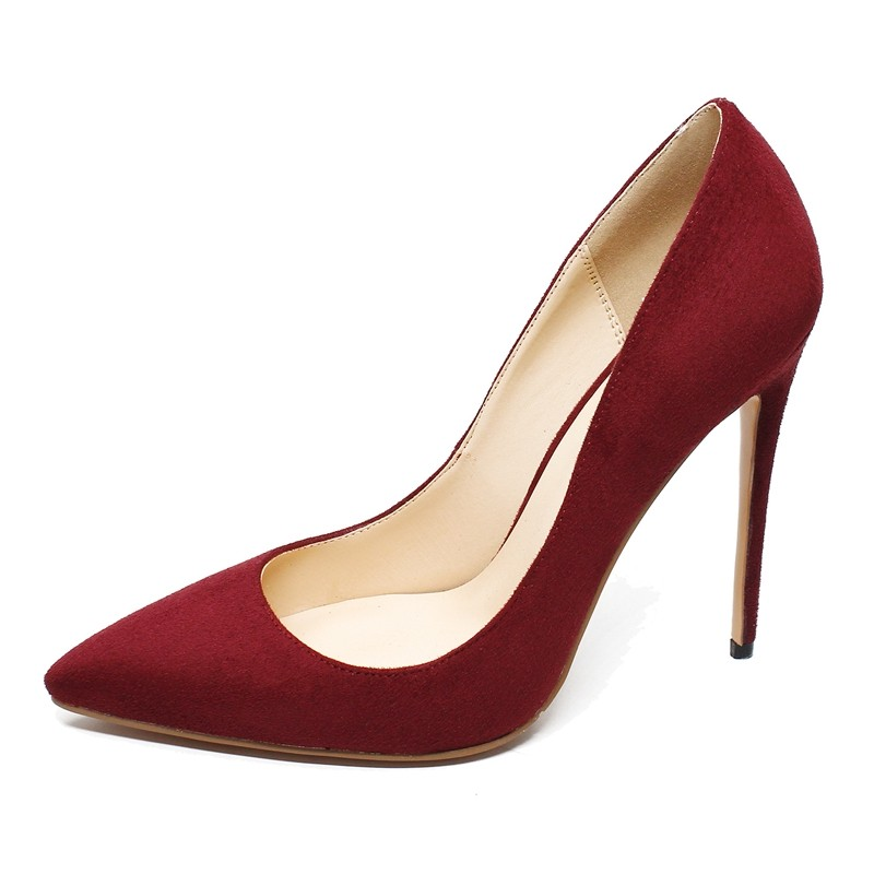 Pointed Toe Suede Leather Ladies Shoes Women Pumps 8.5CM High Heels Woman Party Wedding Dress Formal Shoes Wine Red C003C