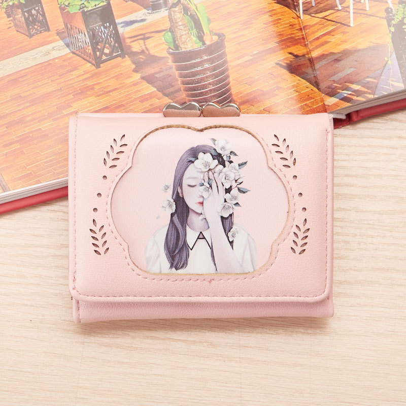 YOUYOU MOUSE Cute Cartoon Women Wallet New Korean Fashion Lady Wallet Beautiful Girl 3 Fold Short Small Wallet Card Package youyou mouse korean style women wallet pu leather 2 fold phone package wallet multi function lovely big eyes pattern wallet