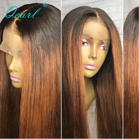 Ombre 1B/30# Side Part 360 Lace Frontal Wig Brazilian Straight 130% Density Virgin Hair Color For Black Women Human Hair Wigs