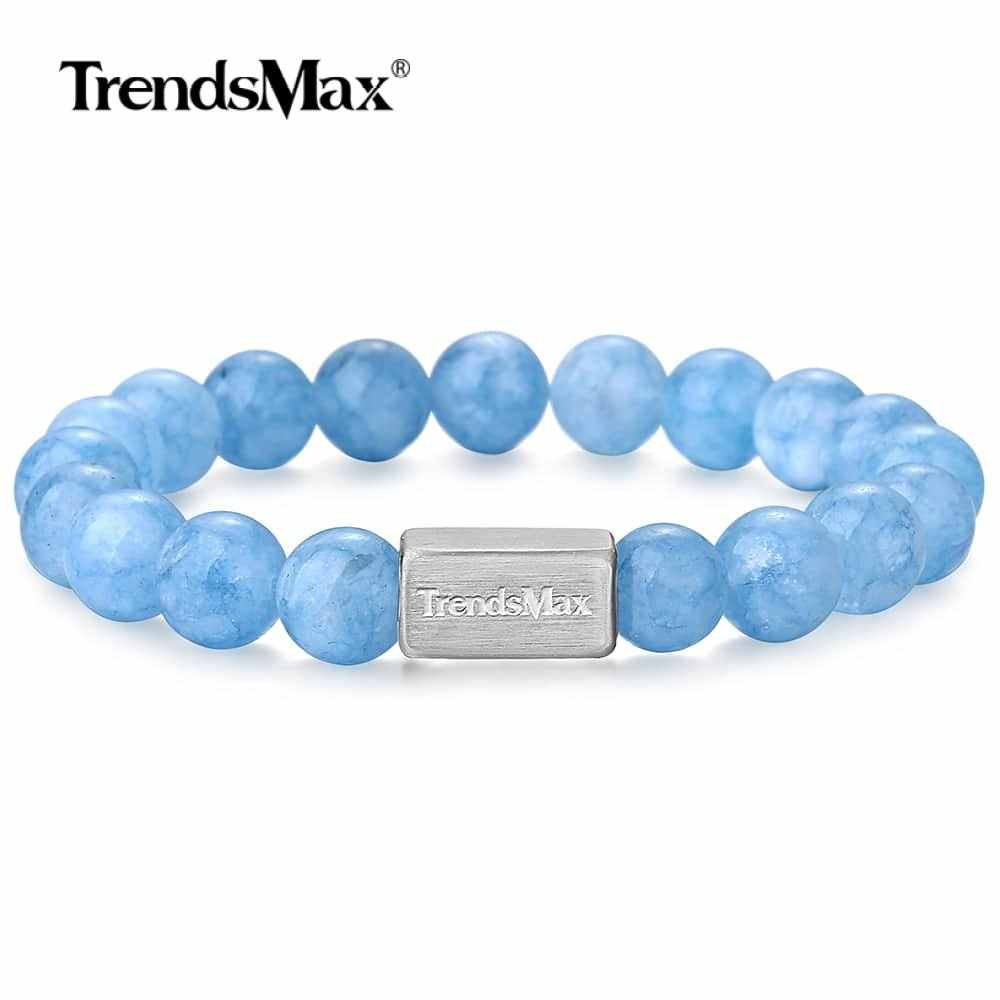 Natural Stone Beads Aquamarine Stone Bracelet Stainless Steel Gem Chain Crystal Wristband for Mens Womens Jewelry Gifts TBB00121