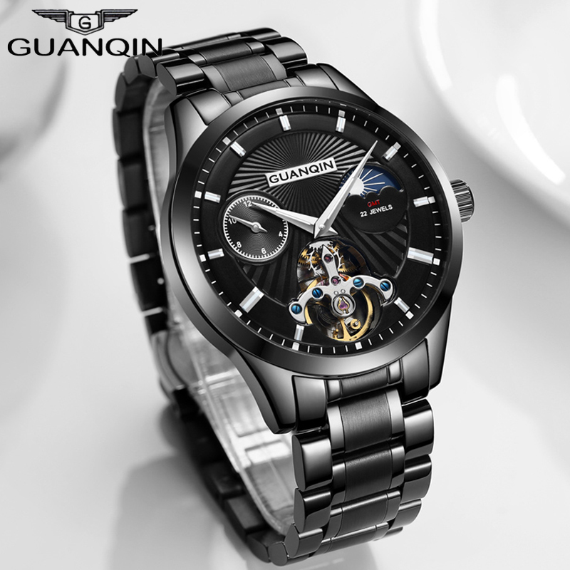 GUANQIN Skeleton Tourbillon Mechanical Watch Men Automatic Classic Leather Mechanical Wrist Watches Men Reloj Hombre 2018 lige skeleton tourbillon mechanical watch men automatic classic mechanical stainless steel wrist watches reloj hombre 2017