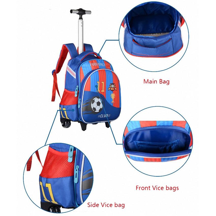 JASMINESTAR 3 pièces sac à roulettes pour fille Grade 1-3-6 papillon sac Trolley + porte-crayon + sac à bandoulière enfants sac à dos cartables - 5