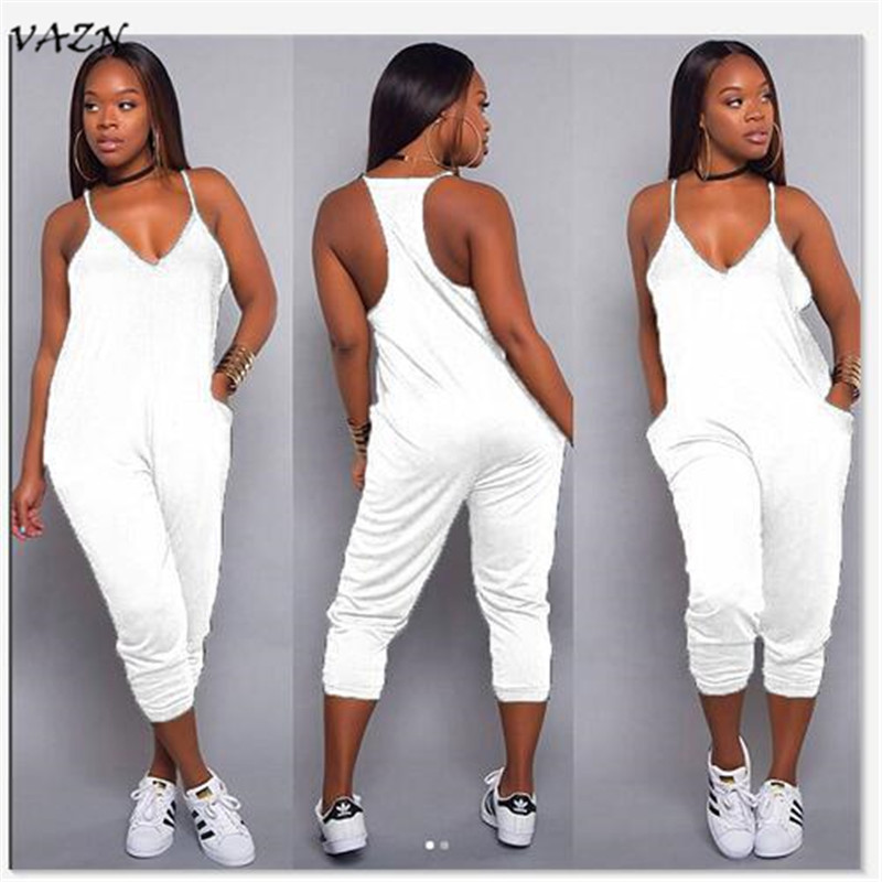 VAZN 2018 Hot Sale Exotic Design Sexy Style Women   Jumpsuit   Spaghetti Strap Sleeveless Pocket Straight Romper Y099