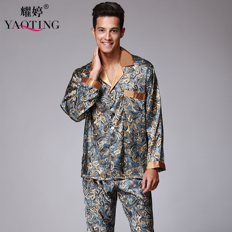 Silk men pajama set full sleeve long pants home set turn down england style button decoration elastic waist