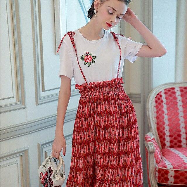 Rode Jurk Korte Mouw.Vrouwen Tweedelige Set Jurk Borduren Rose Bloemen Korte Mouw Witte T