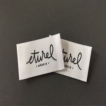 Customized High Density White Color Woven Label For Clothing