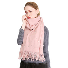 9807e206b3e5f Newest Autumn Winter Women's Scarves Fashion Pearl Scarf Shawls Faux  Cashmere Poncho Wrap Solid Color Warm