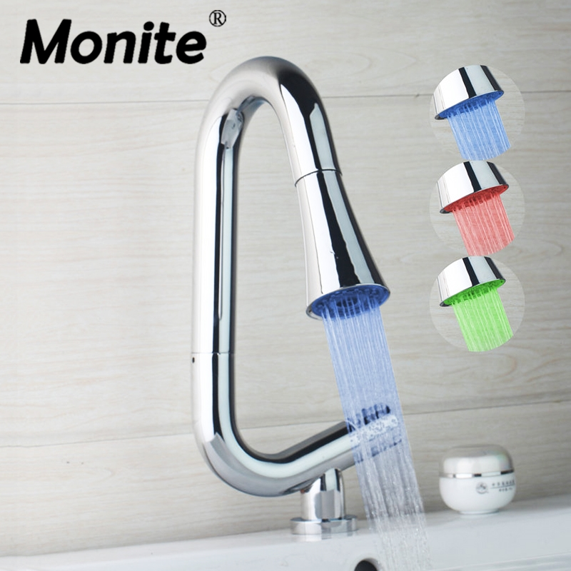 Pull Out & Pull Down Kitchen Basin Sink Faucet LED Light Hot & Cold Water Mixer Tap Deck Mounted Tap Chrome Brass new pull out swivel chrome brass kitchen faucet spout vessel basin sink single handle deck mounted mixer tap mf 446