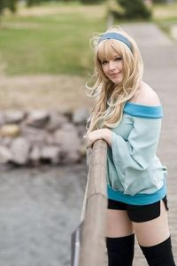 Macross F Sheryl Nome Light Green Chiffon Coat and pant Cosplay Costume with necklace and socks(China)
