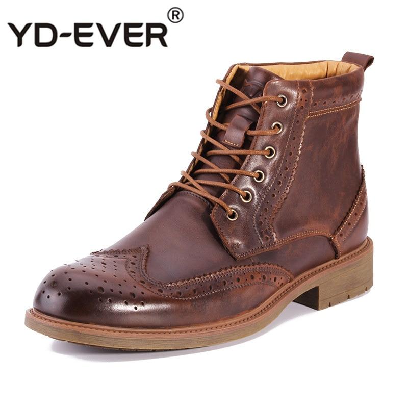 Yd up Casuais Genuíno Homens marrom Botas Alta Marca De Corte Preto Outono Couro Sapatos ever Esculpidas Nova Lace Primavera Moda Masculinos 4Zrqw4U