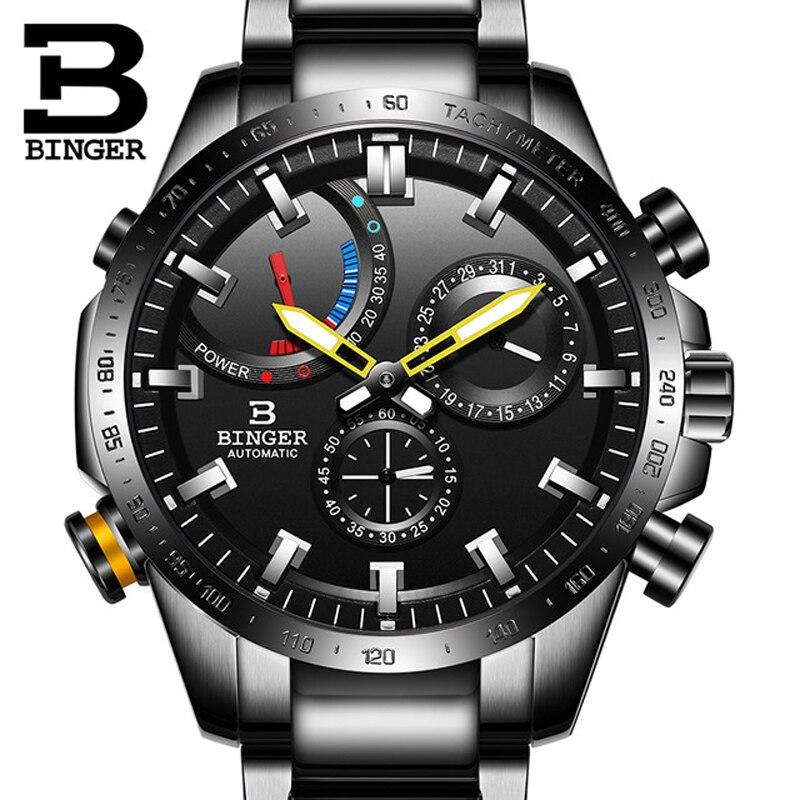 BINGER hommes nouvelle montre mécanique automatique hommes Top marque de luxe militaire sport noir acier mâle étanche 50 M montres Relogio