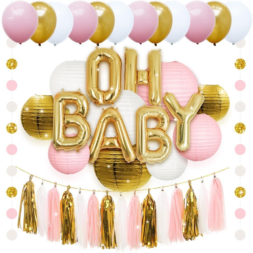 NICROLANDEE 43 pièces mélange de couleurs ballons à Air lanterne en papier gland suspendu bricolage bébé douche fête d'anniversaire décorations enfants Globos